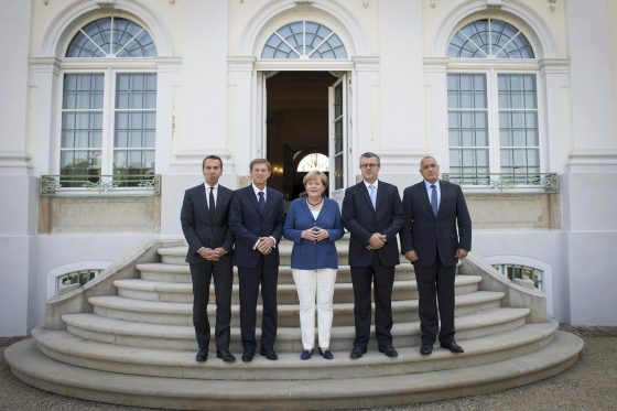 German Chancellor Angela Merkel meets with (L-R) Austrian Chancellor Christian Kern, Slovenian Prime Minister Miroslav Cerar, Croatian Prime Minister Tihomir Oreskovic, and Bulgarian Prime Minister Boyko Borissov at Schloss Meseberg, in Meseberg August 27, 2016. REUTERS/BPA/Guido Bergmann/Handout via Reuters THIS IMAGE HAS BEEN SUPPLIED BY A THIRD PARTY. IT IS DISTRIBUTED, EXACTLY AS RECEIVED BY REUTERS, AS A SERVICE TO CLIENTS.