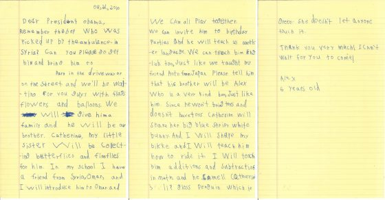 A 6-year-old boy in New York wrote a letter to President Obama offering to share his home with Omran Daqneesh, the Syrian boy who was seen in the aftermath of an airstrike last mon
