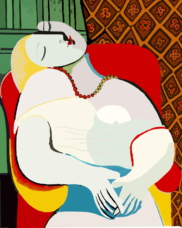 """""""La Rêve"""" - """"Сънят"""" 1932 г.- Това е една от най-известните картини на Пикасо, изобразяваща любимата му - Мари Терез Волтер, спяща на червен стол."""