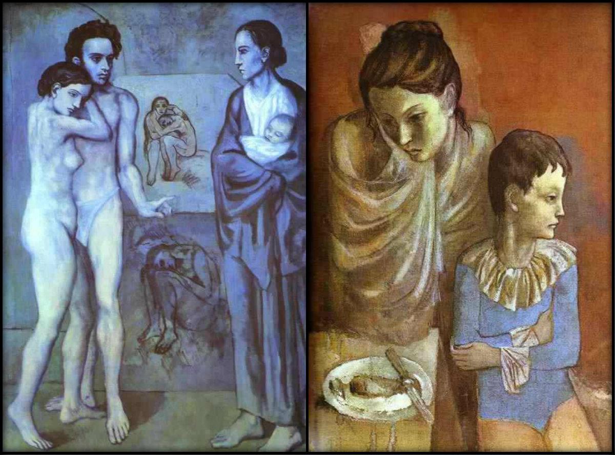 Син и розов период на Пикасо. В синия период витае темата на смъртта, старостта, бедността, меланхолията и тъгата. В розовия период той рисува най-вече пътуващи циркови артисти — комедианти, танцьорки и акробати. Макар че сюжетите са по-радостни и по-живи, от платната лъха самота.