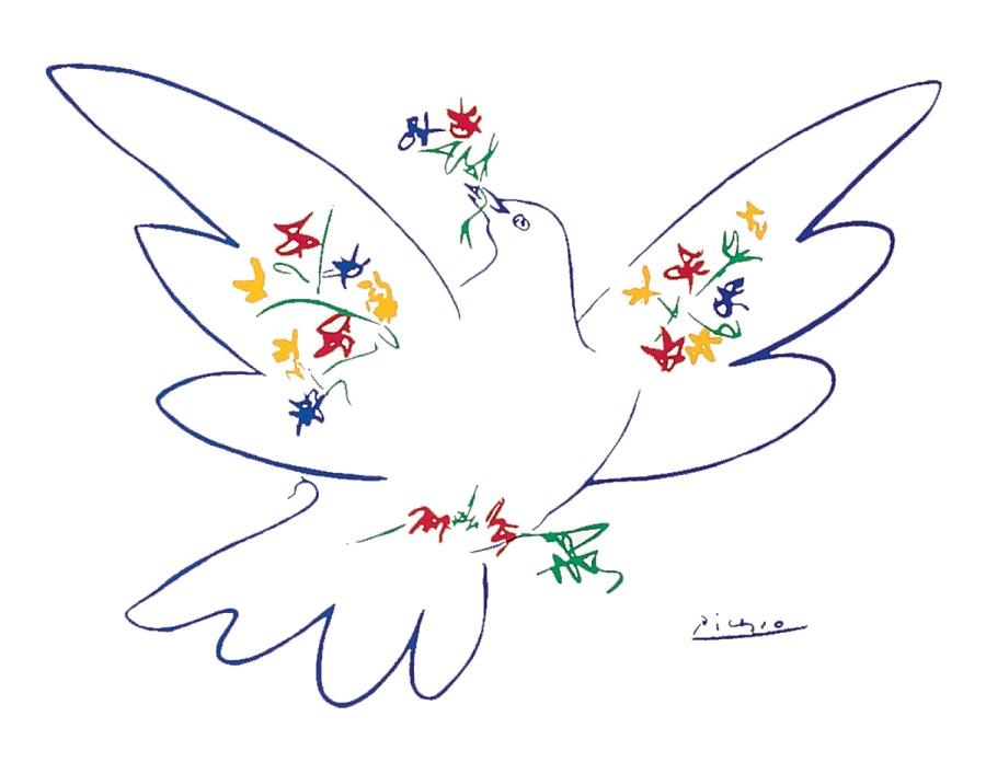 Гълъбът на мира, избран като емблема за First International Peace Conference в Париж, 1949 г.