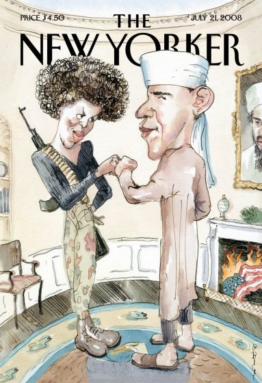 "This illustration provided by New Yorker magazine, the cover of the July 21, 2008 issue by artist Barry Blitt, shows Democratic presidential candidate Barack Obama dressed as a Muslim and his wife as a terrorist. The magazine says the cover is meant to satirize the use of scare tactics and misinformation in the presidential election to derail Obama's campaign, but Obama's campaign called it ""tasteless and offensive."" (AP Photo/New Yorker)"