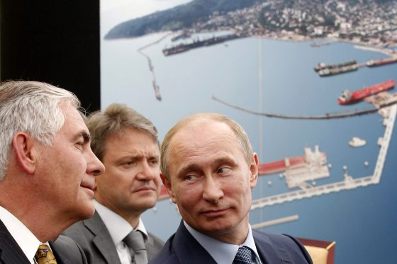 Russia's President Vladimir Putin (R) and ExxonMobil Chairman and CEO Rex Tillerson (L) attend at the ceremony of the signing of an agreement between state-controlled Russian oil company Rosneft and ExxonMobil in the Black Sea port of Tuapse on June 15, 2012. AFP PHOTO/ RIA-NOVOSTI/POOL/MIKHAIL KLIMENTYEV (Photo credit should read MIKHAIL KLIMENTYEV/AFP/Getty Images)